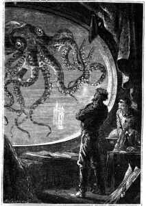 Engraving of Captain Nemo viewing a giant squid from a porthole of the Nautilus submarine, from 20000 Lieues Sous les Mers by Jules Verne (1870).By Alphonse de Neuville and Edouard Riou [Public domain], via Wikimedia Commons.