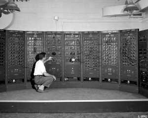 Analog computing machine at the Lewis Flight Propulsion Laboratory in 1949