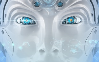 Futuristic android face with digital virtual HUD elements. Closeup mechanical eyes of a creative robot. High-tech artificial intelligence on blue background. Autonomous robot.